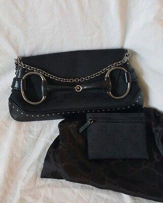 (Gucci Black GG Canvas Studded Horsebit Chain Bag Clutch Matching Coin Wallet Set)
