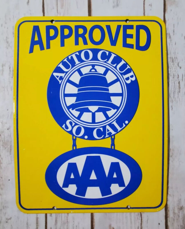 VINTAGE AAA AUTO CLUB SO. CAL. PROCELIAN METAL GAS & OIL PUMP SHOP PUSH AD SIGN!