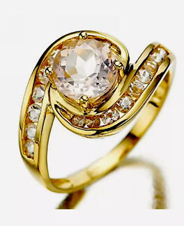 Ladies 10K Yellow Gold Plated Topaz Ring.  Size Q (8).