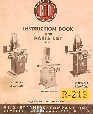 Reid 618v 2-b Surface Grinder Instructions And Parts Manual 1950