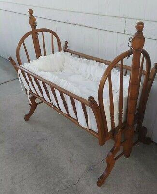 Antique Wooden Swinging  Rocking Spindle Bassinet / Cradle / Crib w/ Bedding