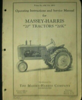 Massey-harris Tractors 20 - 20k Operating And Service Manual 1947 Original