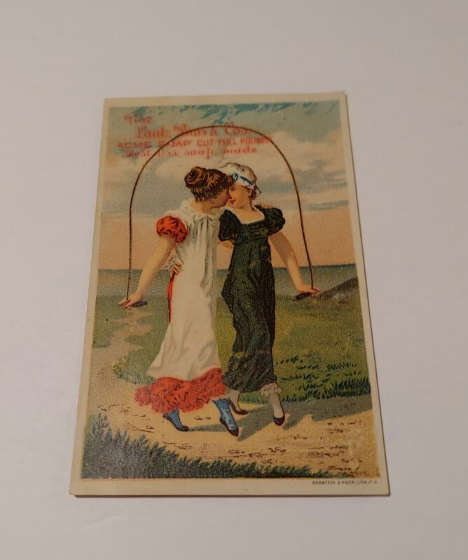 Antique Trade Card Acme Soap 2 Women Kissing