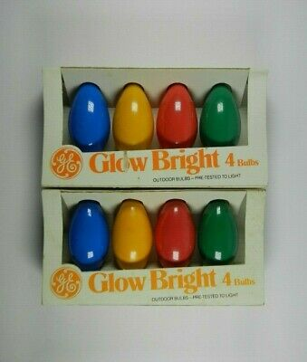 GE C9 Christmas Lights Lamp Glow Bright Bulbs Multi Color Indoor Outdoor Vintage