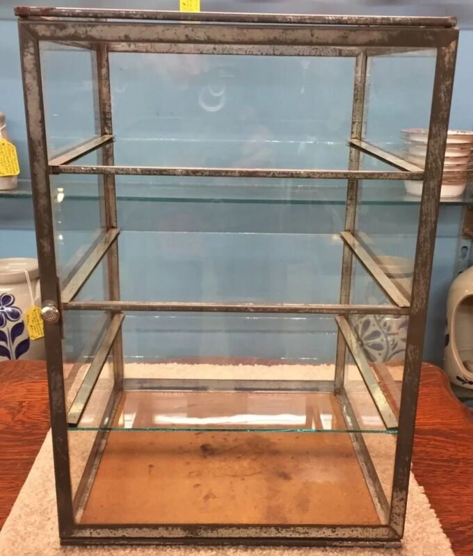 TIN & GLASS FULL VIEW STORE COUNTER TOP PIE/DISPLAY CASE W/THREE GLASS SHELVES