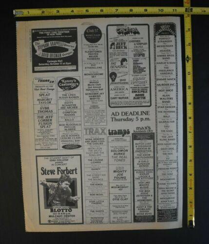 Jeff Beck 1980 Concert Ad Capital Theater NJ Pat Benatar Gary Numan Utopia