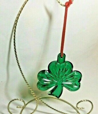 Waterford Crystal Green Irish Shamrock Christmas a Tree Ornament -