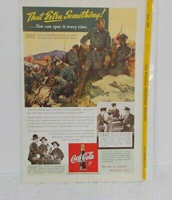 "1943 COKE COCA-COLA AD -  Stonewall Jackson - Soldiers  - 6 5/8"" x 10"""