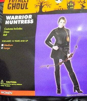 NEW Womens Black Warrior Hunter Hunger Costume Games Sz Medium M - FREE SHIPPING - Womens Hunter Costume