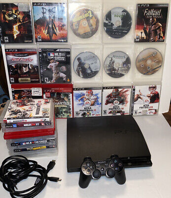 Sony PlayStation 3 PS3 Slim 160 GB Black Console Bundle + 27 Games (All Tested)