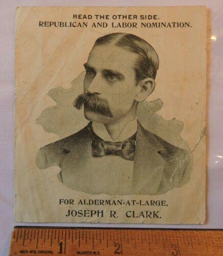 Brooklyn Printers Union 1894 Members Political Endorsement Card Alderman Clark
