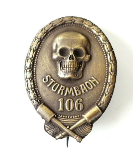 AUSTRIAN ARMY WW1 REPRO STORMTROOP STURMTRUPPE STURMBAON BADGE #106 brass finish