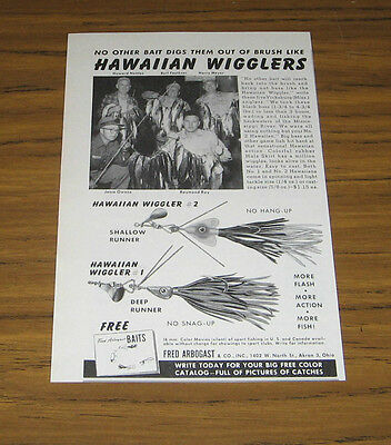 1953 Vintage Ad Hawaiian Wiggler Fishing Lures Fred Arbogast Co Akron,OH