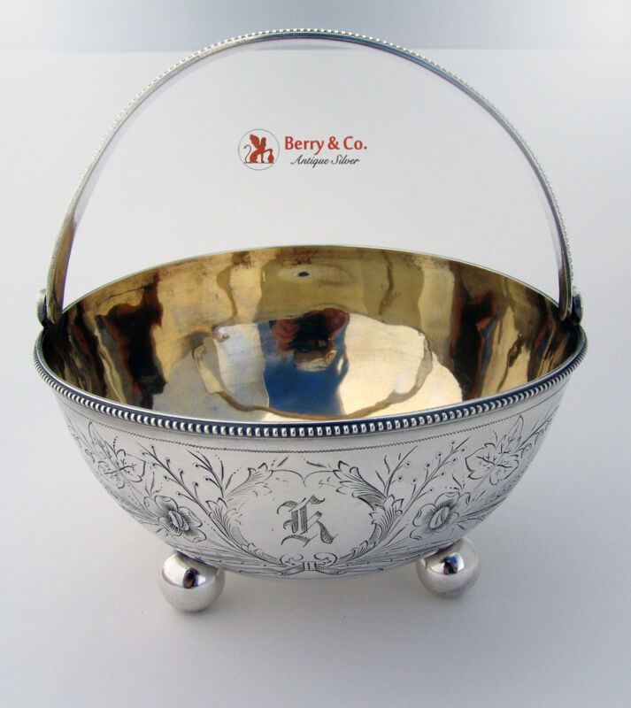 Russian 84 Standard Silver Large Sugar Basket by Grachev Грачевъ 1883