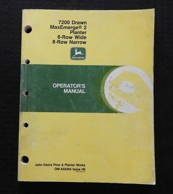 John Deere 7200 6-row Wide 8-row Narrow Drawn Maxemerge Planter Oper Manual Nice