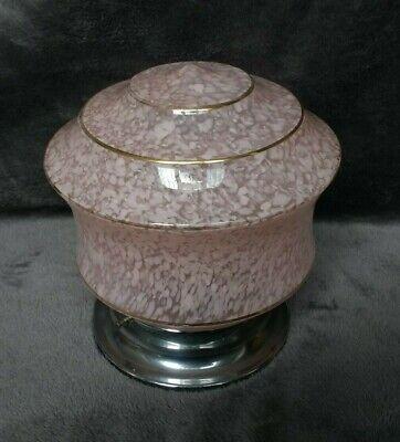 1950's 1960's Original Speckled Glass Ceiling Light on Chrome Base - Pink Flecks