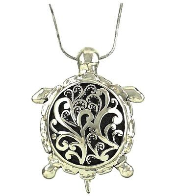 Filigree pendantebay 1 sea turtle pendant necklace antique filigree looking with 18 chain mozeypictures Images