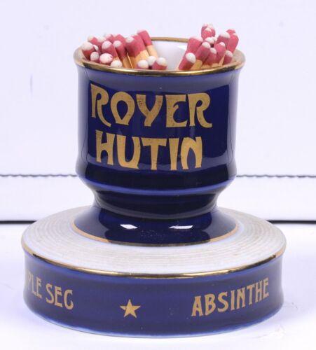 """Vintage ROYER HUTIN Absinthe Blue MATCH HOLDER / STRIKER Advertising 3.25""""D"""