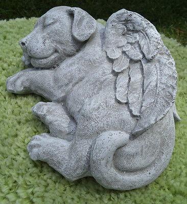 (PRECIOUS PUPPY DOG ANGEL CONCRETE STATUE ANTIQUED WHITE MEMORIAL MARKER)