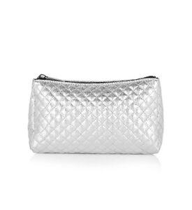 Topshop Tent Zip Top Make-Up Cosmetic Bag - Silver - RRP £10 - New