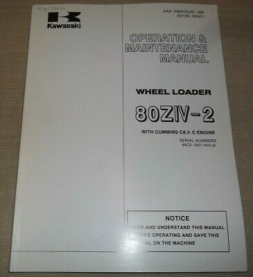 Kawasaki 80ziv-2 Wheel Loader Operator Operation Maintenance Manual Book