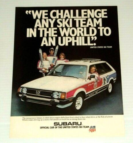 1980 Print Ad Subaru 4WD Wagon USA Ski Team Vintage 80