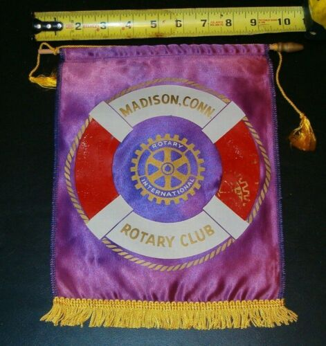 VINTAGE Rotary International Club wall banner flag MADISON CONNECTICUT