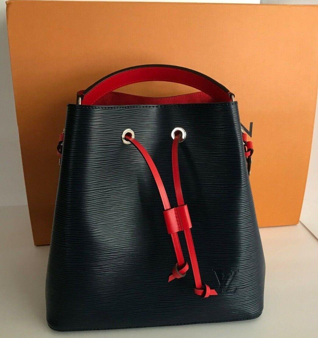 NEW 2018 AUTHENTIC LOUIS VUITTON Epi Leather NeoNoe Bucket Shoulder Bag Blue Red