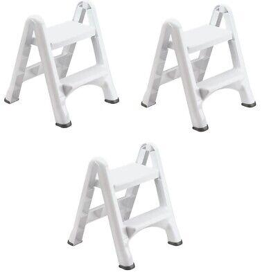 Rubbermaid 4209 EZ Step Two-Step Folding Stool, White 3/Carton, FG420903WHT