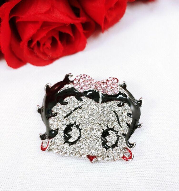 W) vintage Betty Boop Head Bow Pave Rhinestone Enamel Silver Brooch Pin Pendant