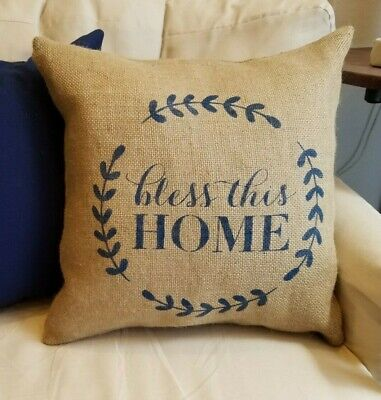Natural & Navy Bless This Home Burlap Pillow Cover - Various Sizes - Navy Burlap