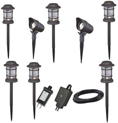 8 Pack Set Dusk Dawn Industrial Low Voltage LED Path Lights Landscape Light Kit