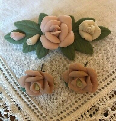 Jewelry Set Porcelain Pink Roses Pin & Pierced Earrings