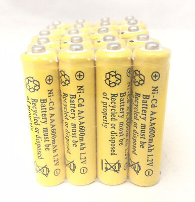20 pcs Rechargeable NiCd AAA 600mAh Ni-Cad Batteries for Solar-Powered Light (600mah Nicad)