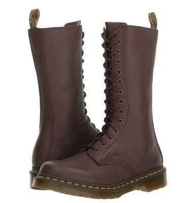 Dr. Martens 1B99 14-Eye Zip Boots Ladies Dark Brown Soft Virginia Nappa Leather Martens 14 Eye Zip