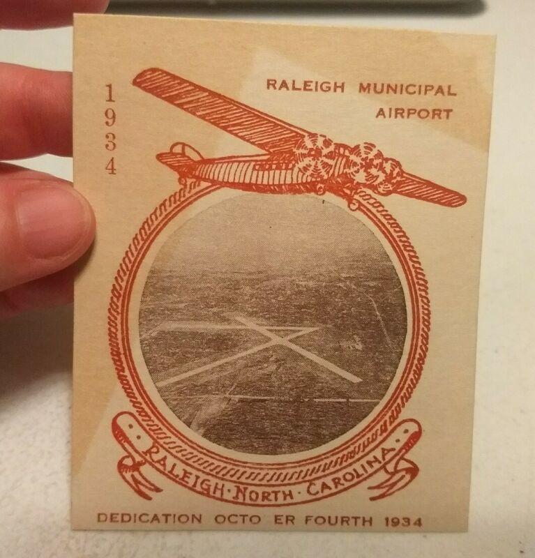 Vtg 1934 Raleigh Municipal Airport North Carolina Dedication Airplane Ephemera