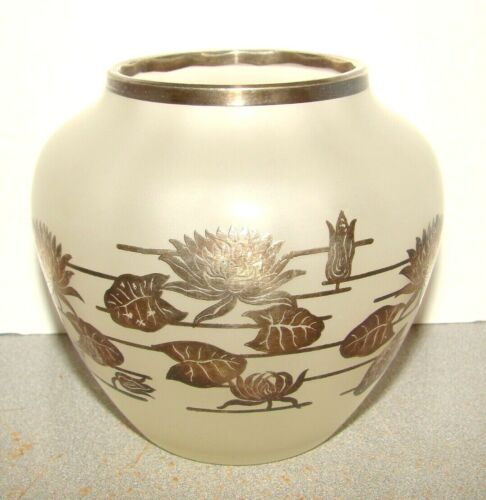 Vintage Satin Glass Vase w/ Silver Overlay Water Lilies