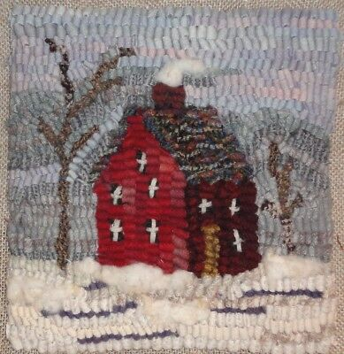 WINTER HOUSE~RUG IN A DAY~PRIMITIVE RUGHOOKING PATTERN~