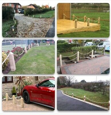 NO DIG!Wood Post/Bollard/Picket Rope Fence, wall,driveway,path,garden,4 post,6m