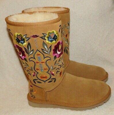 EUC Womens UGG Floral JULIETTE Suede EMBROIDERED Chestnut SHERPA Tall 6 37 Boots](Ugg Embroidered Boots)
