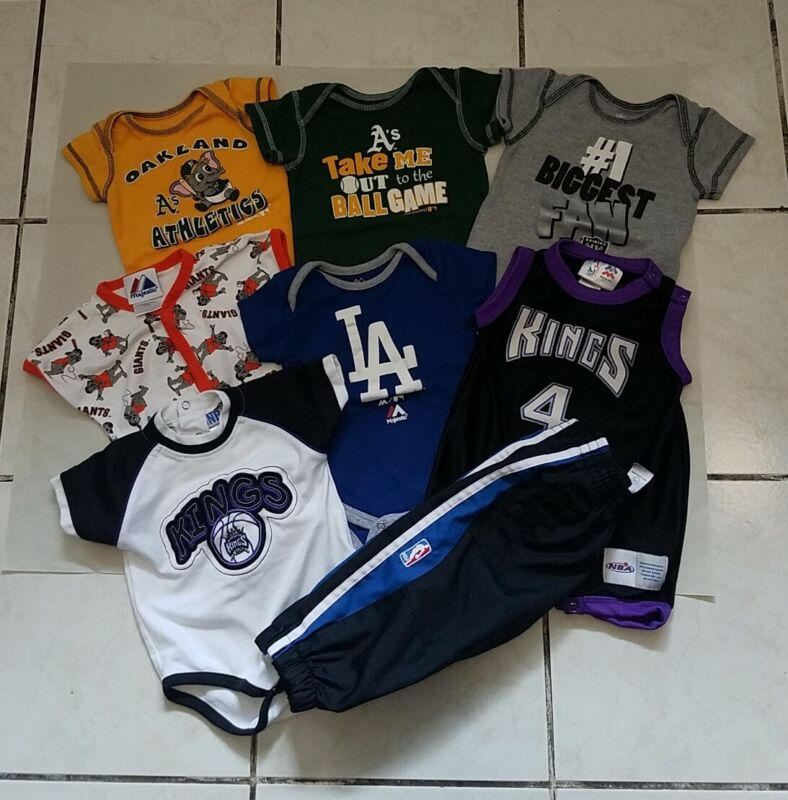 Lot Of 8 Pieces Of Baby Boy Clothes Sport Related Used Size 3/6m,6/9m,12m