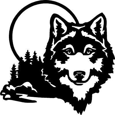 """Wolf Wildlife Scene Vinyl Car Decals Window Stickers (11"""" x 11"""")"""