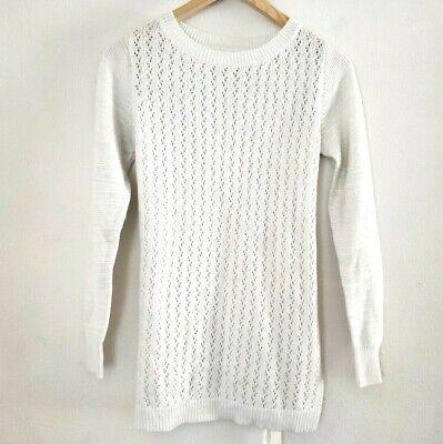 - Liz Lange Maternity Sz XS Creamy White Sparkle Belted Knit Sweater