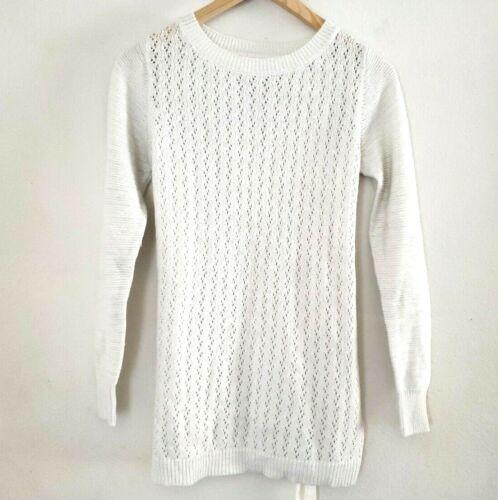 Liz Lange Maternity Sz XS Creamy White Sparkle Belted Knit Sweater