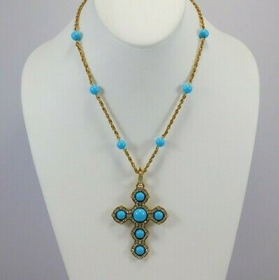 $88  NWT Vintage Antique Gold Plated Rope Chain w Crystal & Blue Stone Cross