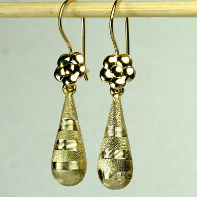 14K Solid Yellow Gold Teardrop 18X7mm Satin Finish Diamond Cut Earrings 1 6Gram