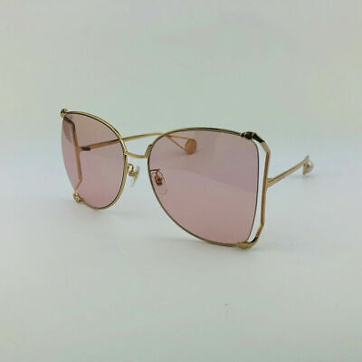 ✅ GUCCI GG0252S 004 Gold Pink Oversize Round-frame Metal Sunglasses (Gucci Shades Pink)