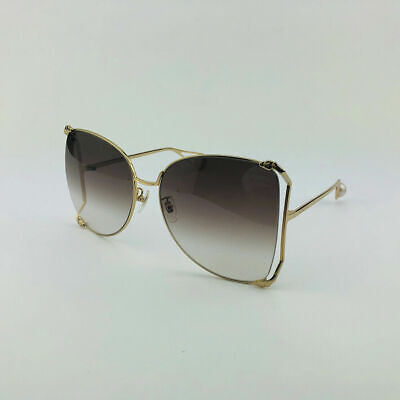 ✅ GUCCI GG0252S 003 Gold Brown Oversize Round-frame Metal Sunglasses (Gucci Sunglasses Metal Frame)
