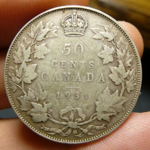 Canada 1931 Fifty 50 Cents Half Dollar King George V Silver Coin