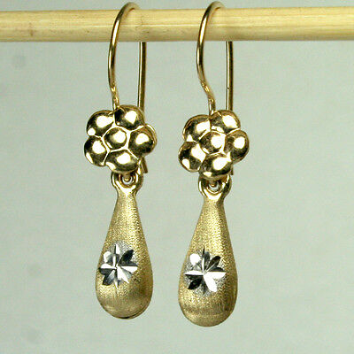 14K Solid Yellow W Gold Teardrop 18X7mm Satin Finish Diamondcut Earrings 1 6Gram